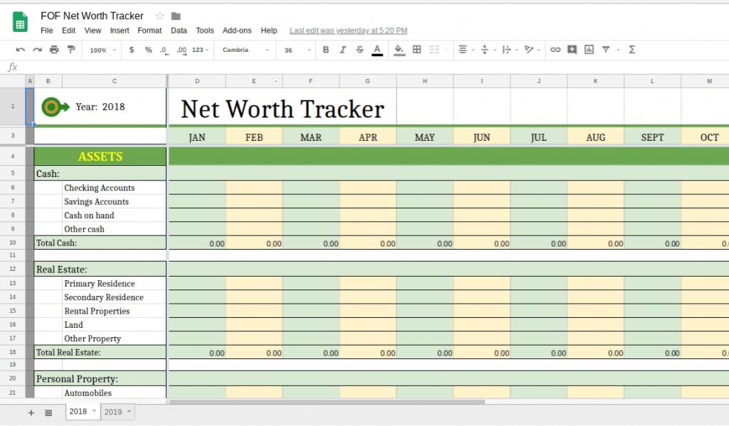 net worth tracker spreadsheet