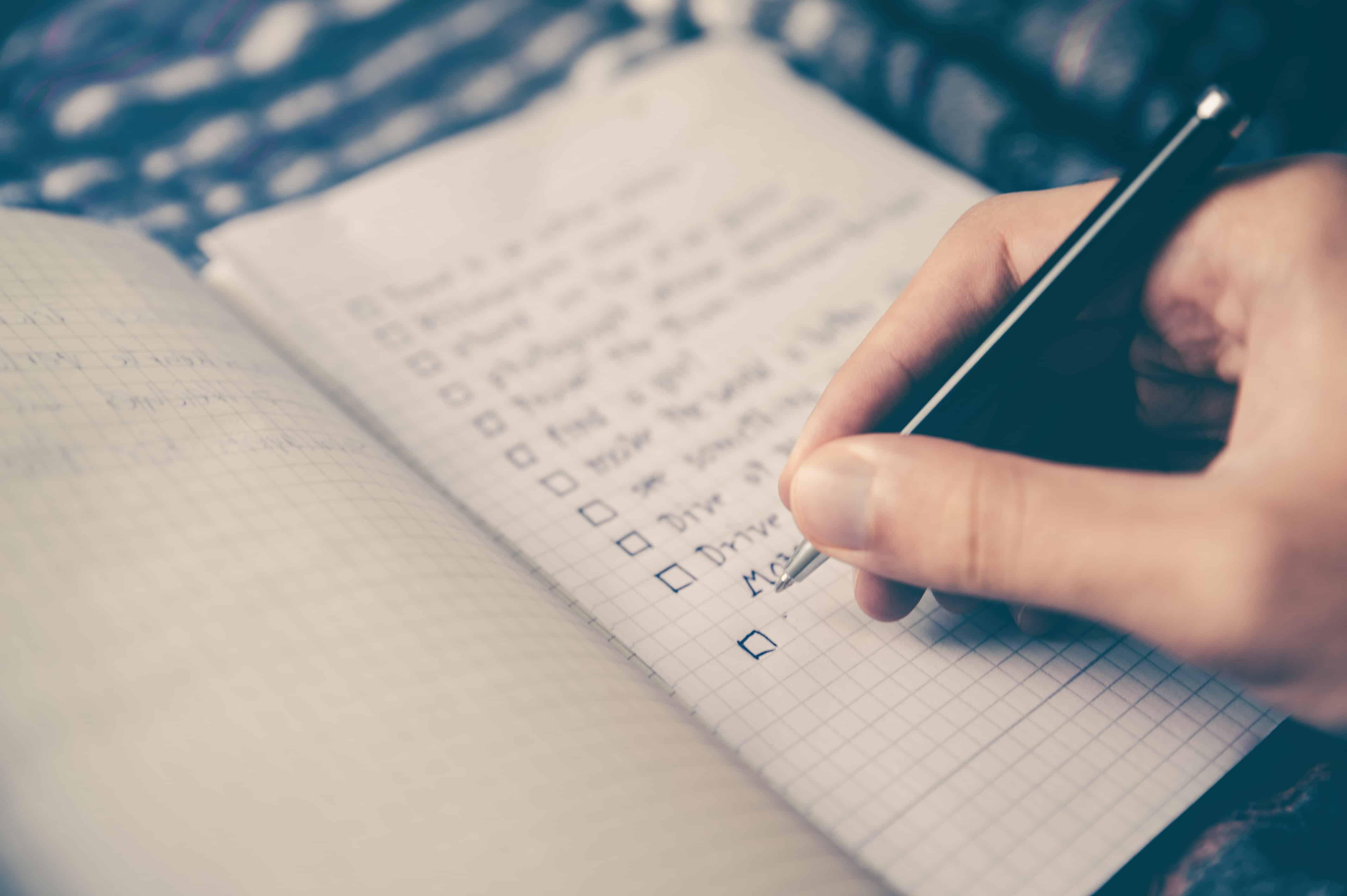 a list representing a financial checklist