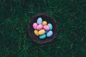 nest of easter eggs on green grass