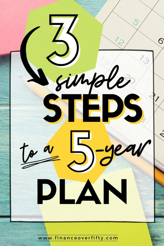 Calendar with text overlay: 3 simple steps to a 5 year plan