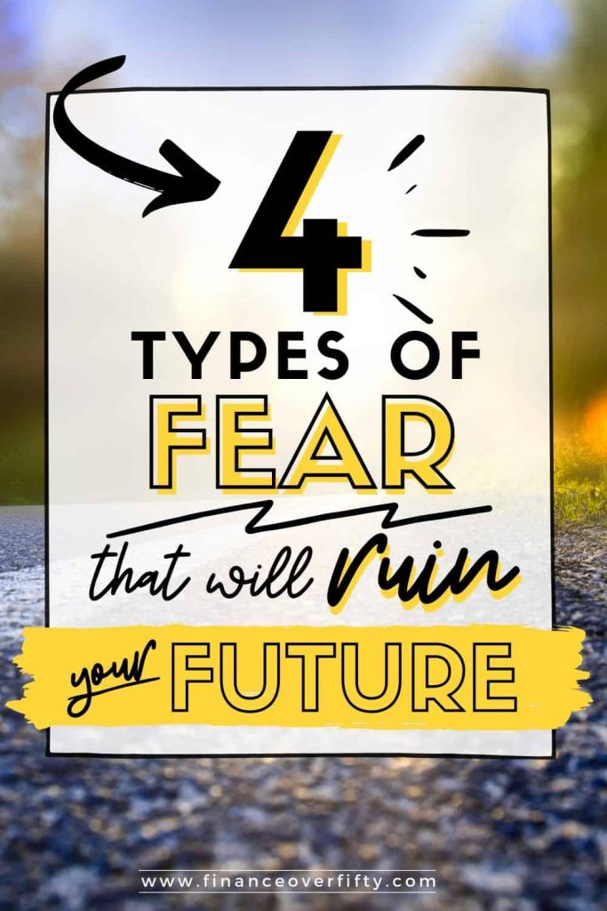 Blacktop road with text overlay: 4 types of fear that will ruin your future