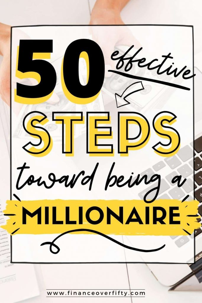 Hands counting money next to laptop keyboard with text overlay: 50 effective steps toward being a millionaire