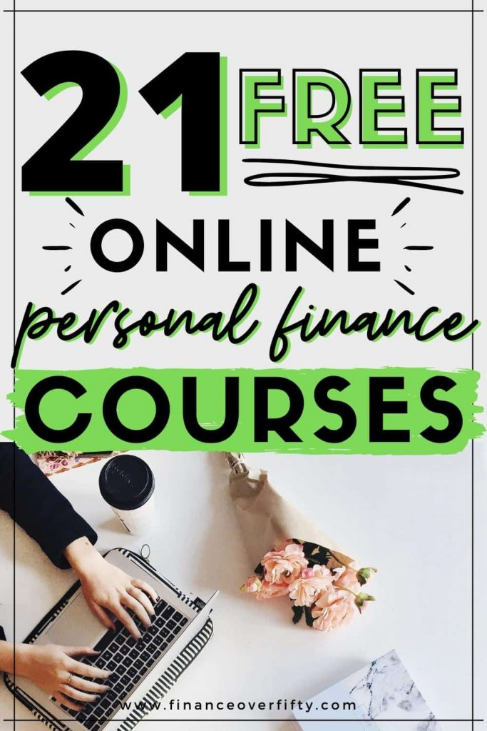 Woman typing on laptop next to roses with text overlay: 21 free online personal finance courses
