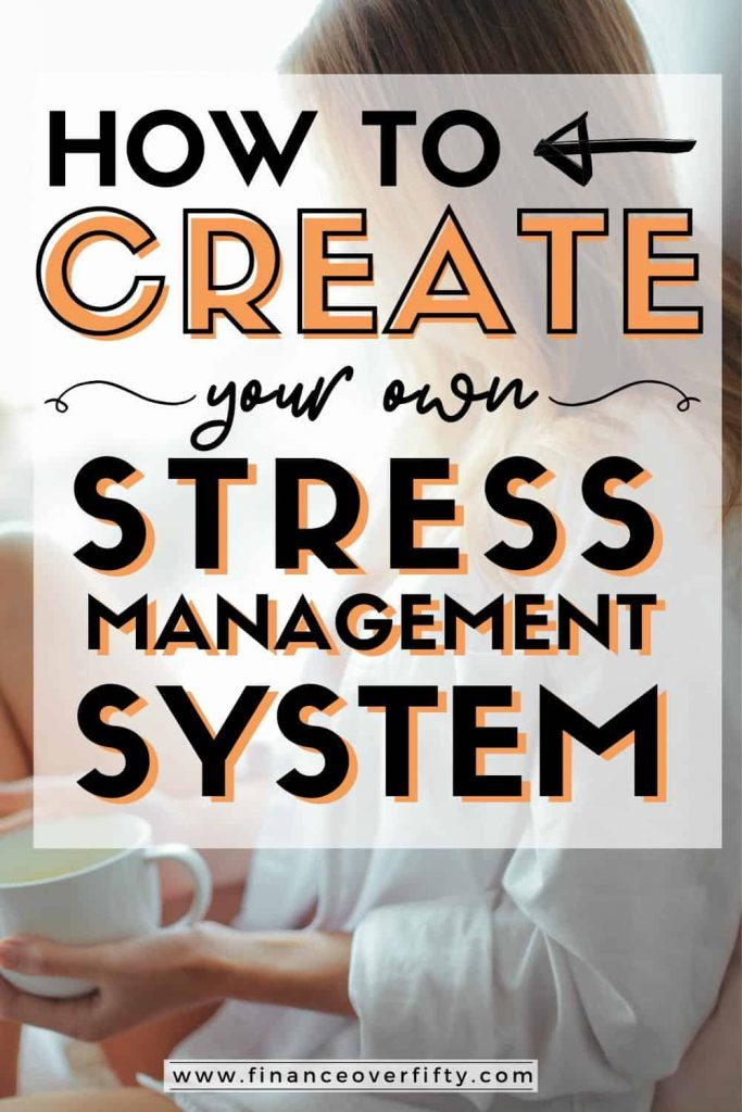 Woman drinking coffee with text overlay: How to create your own stress management system