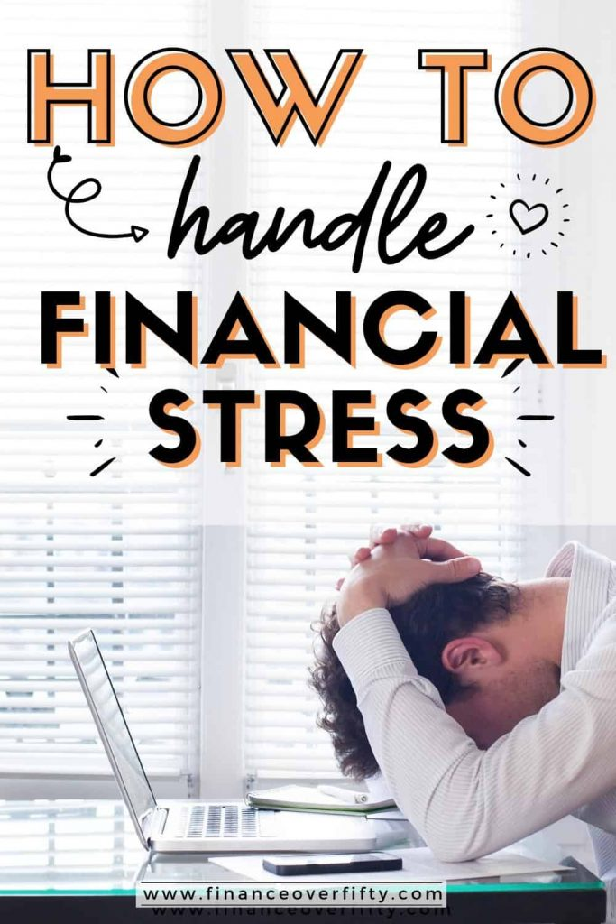 Man stressed out over laptop with text overlay: How to handle financial stress