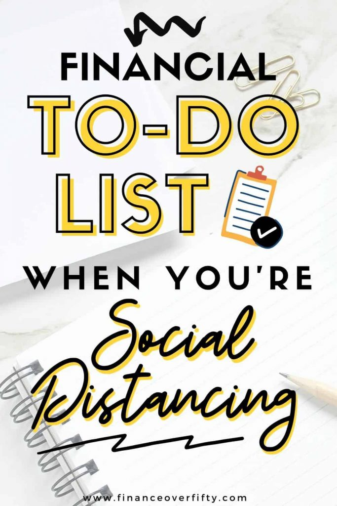 Notebook with paperclips and text overlay: Financial to-do list when you're social distancing