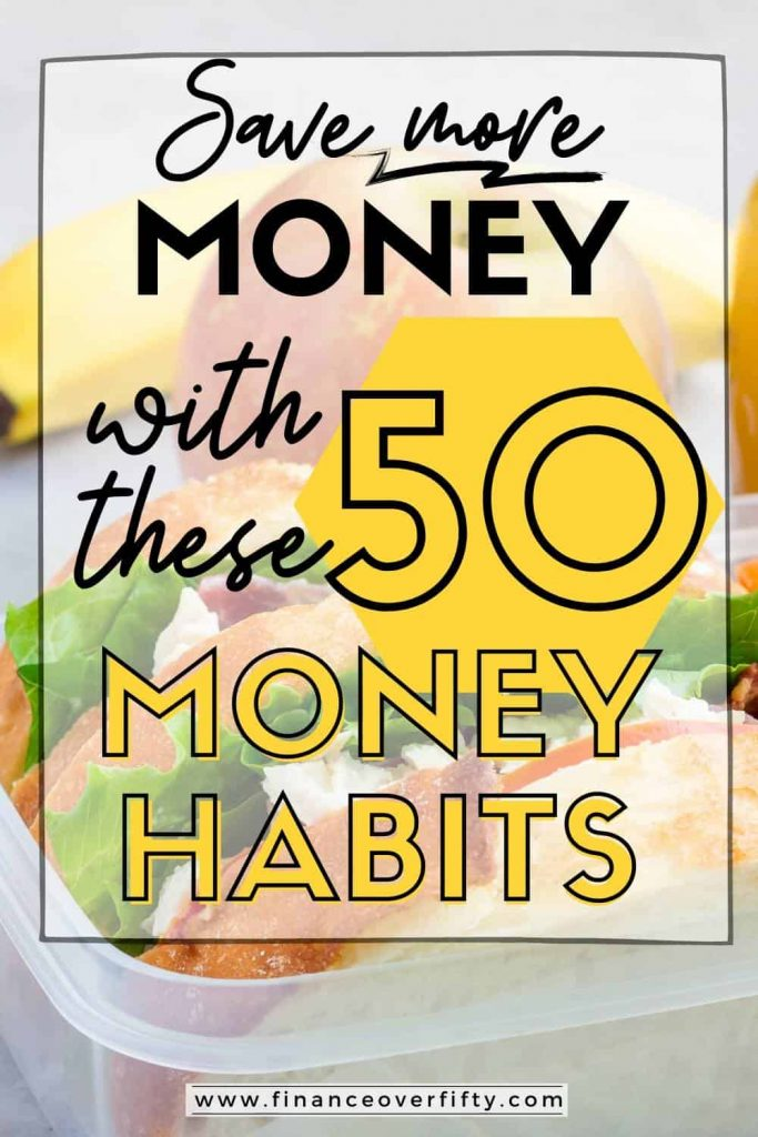 Lunch box with text overlay: Save more money with these 50 money habits