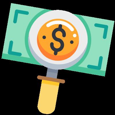 Magnifying glass over dollar bill