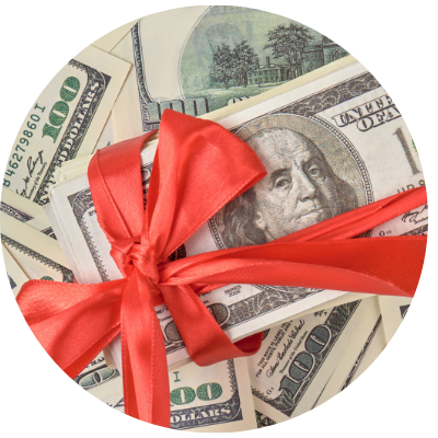 Cash gift with red bow