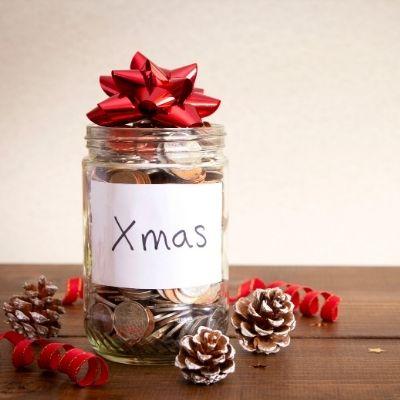 Christmas coin jar