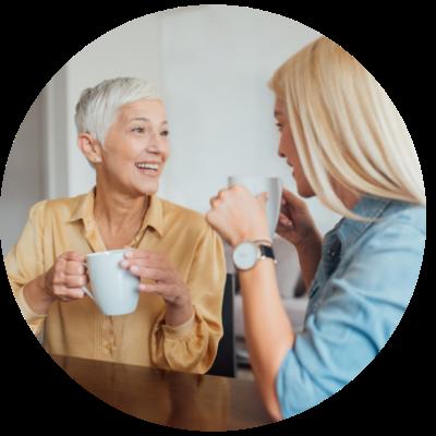 Woman speaking to older future self