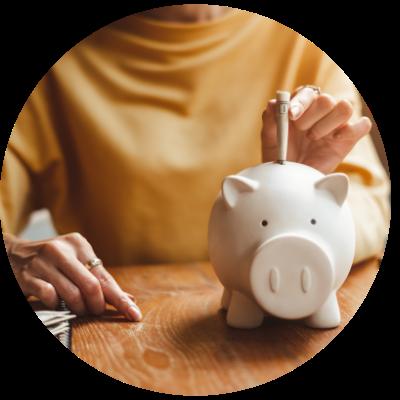 Woman saving money for future self