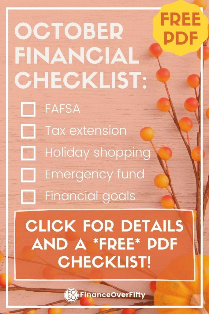 October Financial Checklist pin