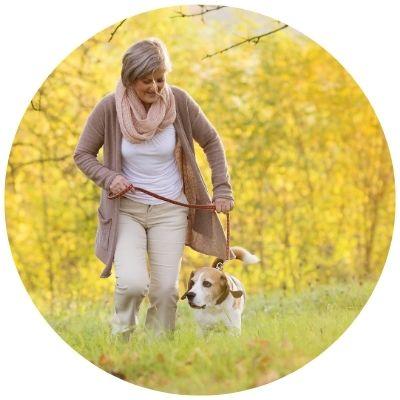 Pet sitter walking dog