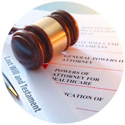 Estate plan documents and gavel