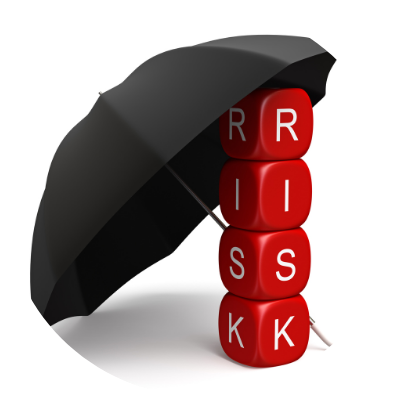 Umbrella over word RISK