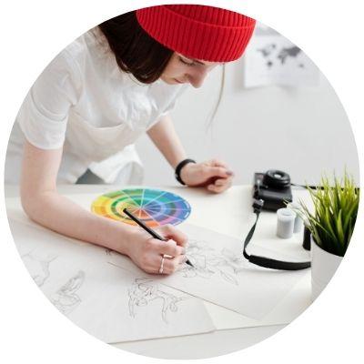 Woman creating art