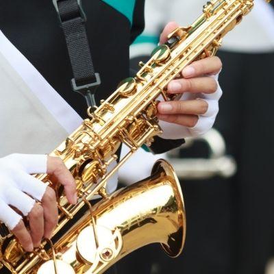Student playing saxophone