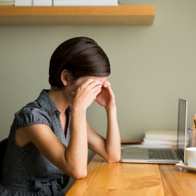 Woman stressed about finances