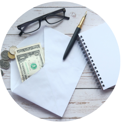 Cash envelope with notebook