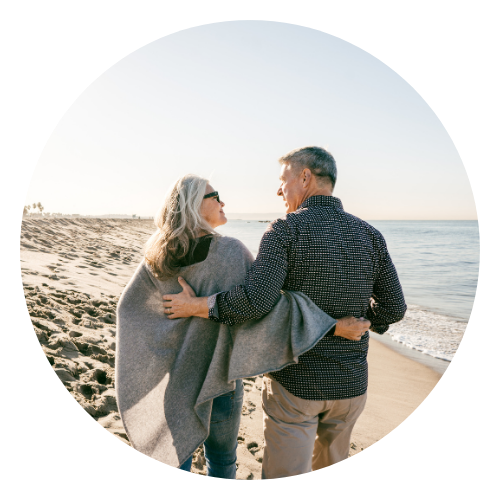 Couple discussing retirement planning on beach