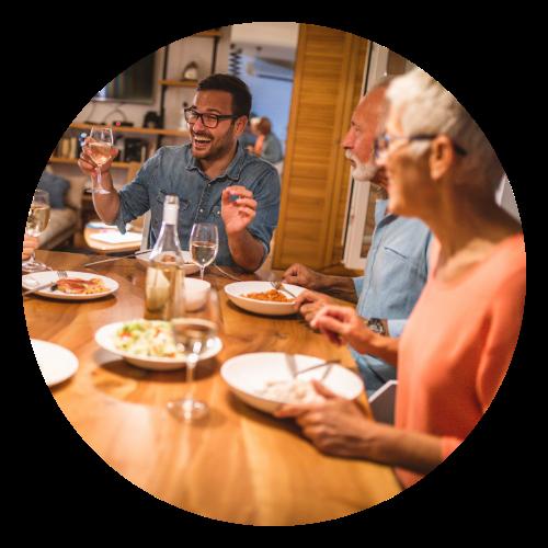 Family eating dinner at home