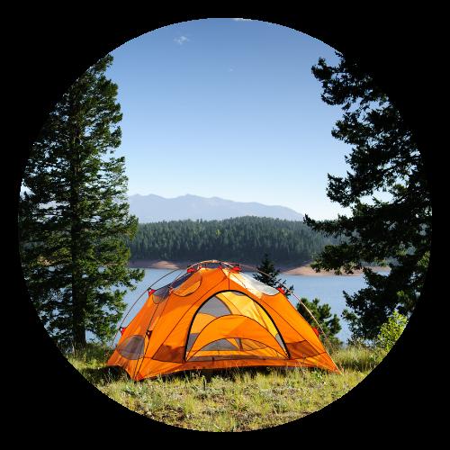 Tent next to a lake