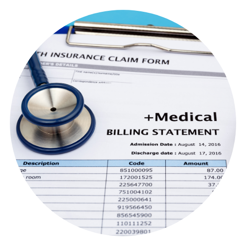 Medical bill and stethoscope
