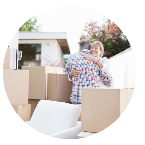 Older couple moving boxes