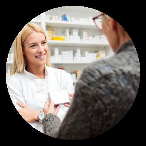 Woman picking up prescriptions