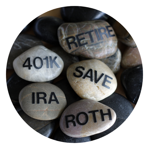 Rocks labeled as retirement funds