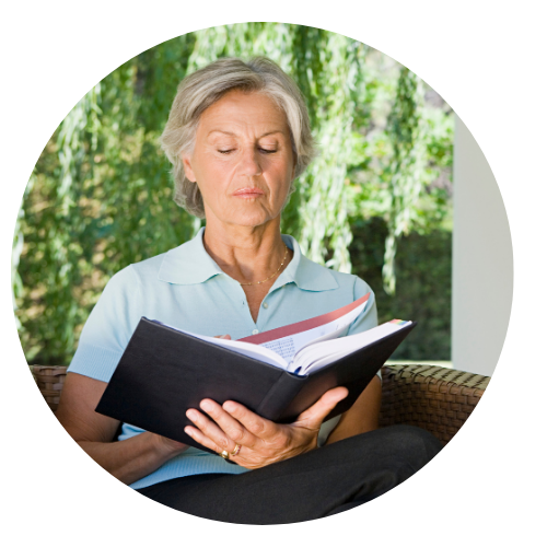 Woman reading about personal finance
