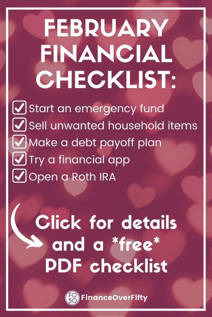 February Financial Checklist pin