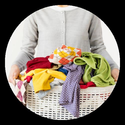 Woman holding full laundry basket