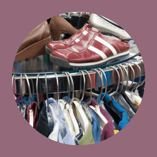 Thrift store clothing rack