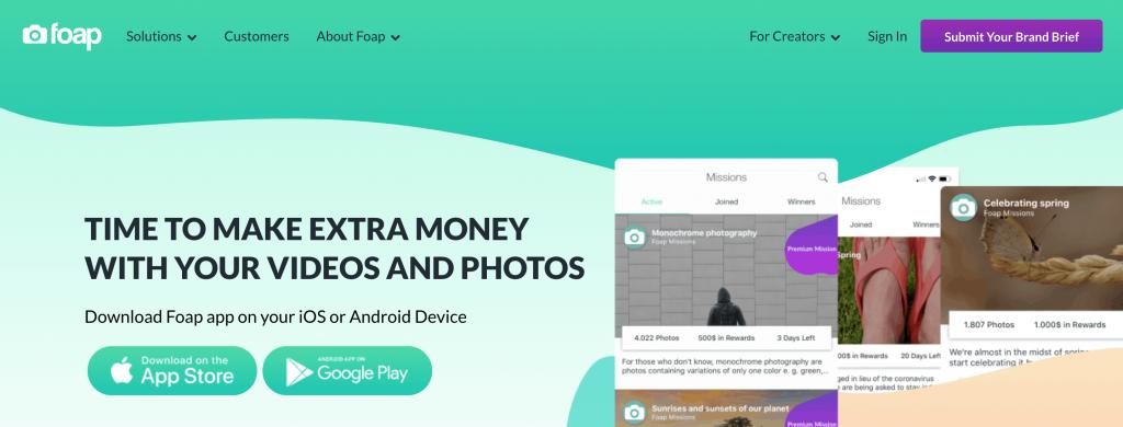 Foap Home Page screenshot