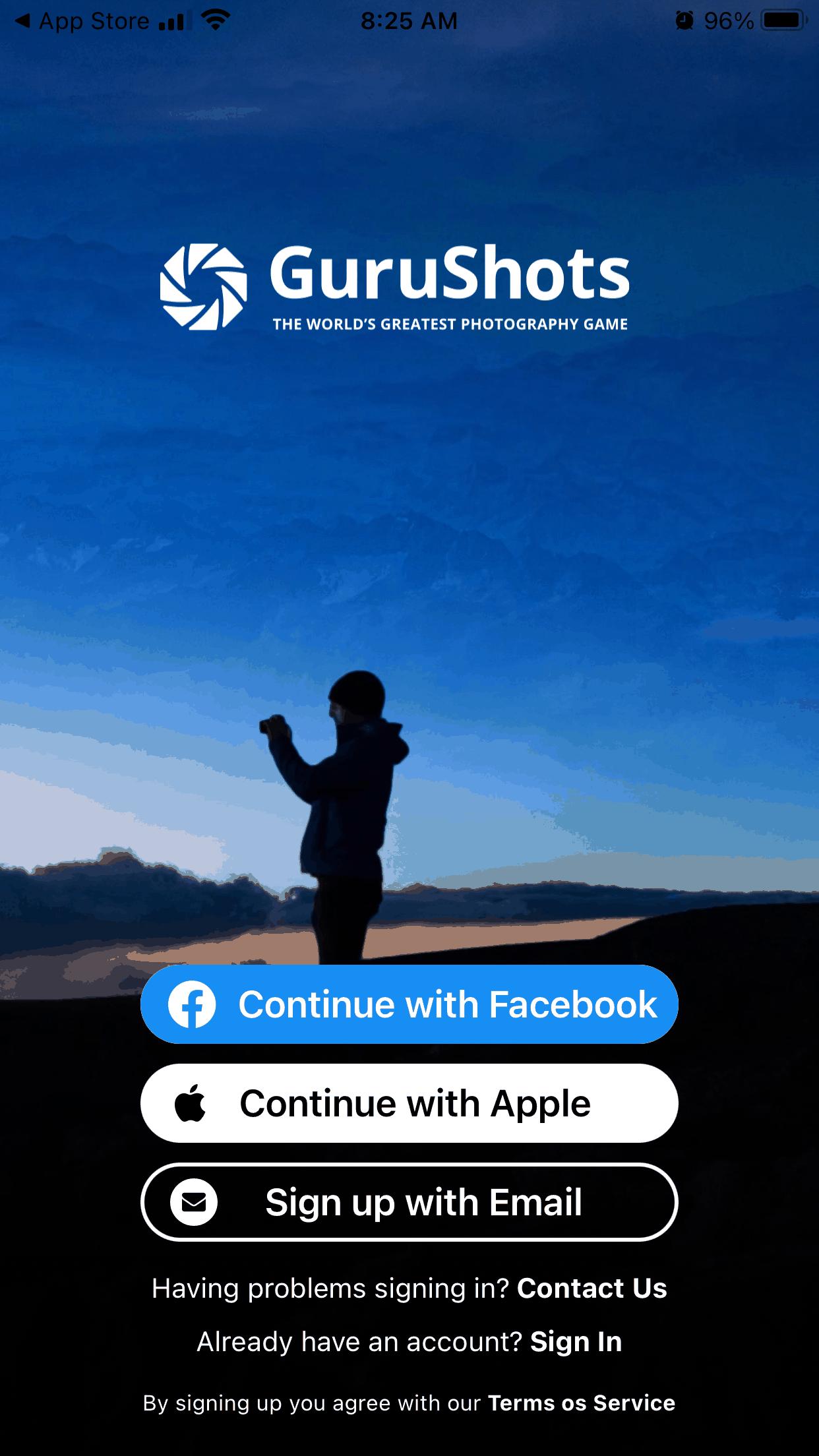 GuruShots App Signup