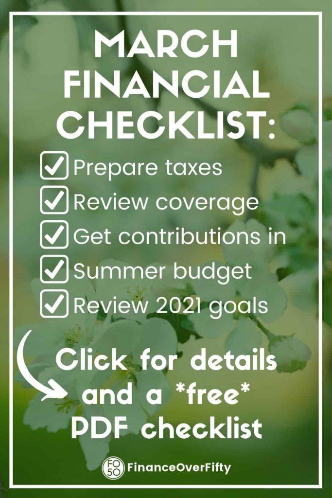 March Financial Checklist pin