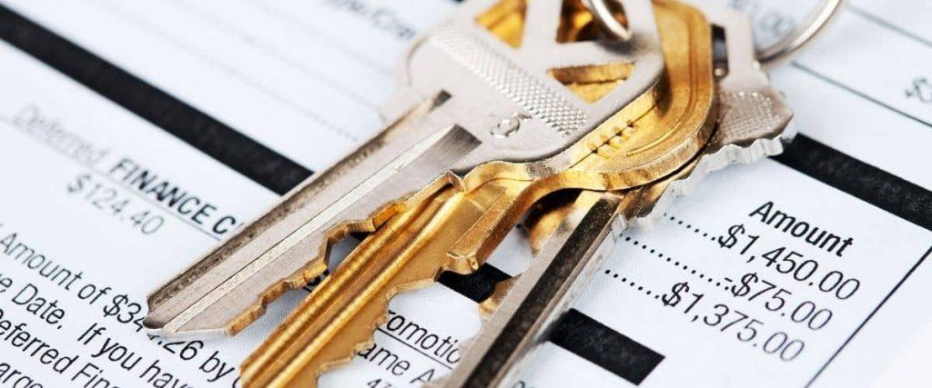 Mortgage bill with keys