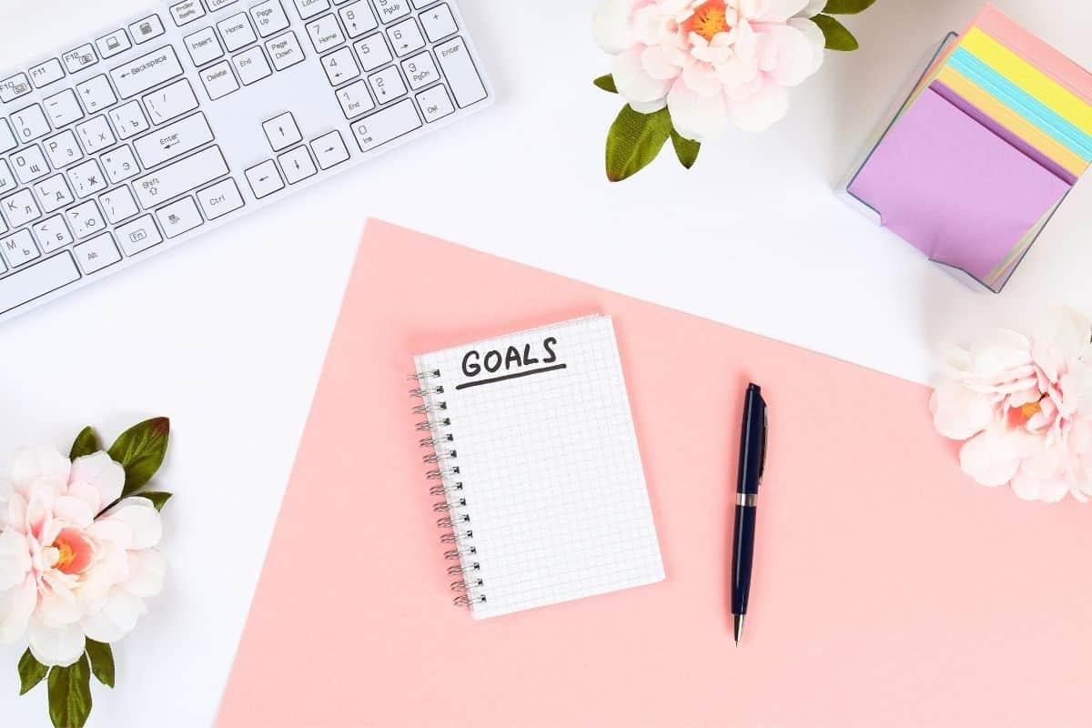 Goal notebook on desk