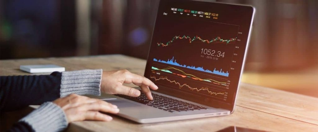 Woman looking at investment portfolio online