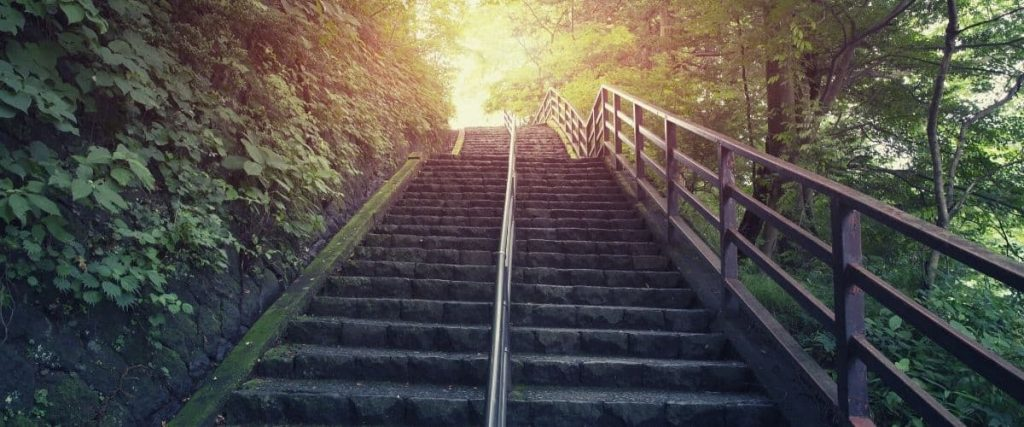 Steps up to the top of a hill