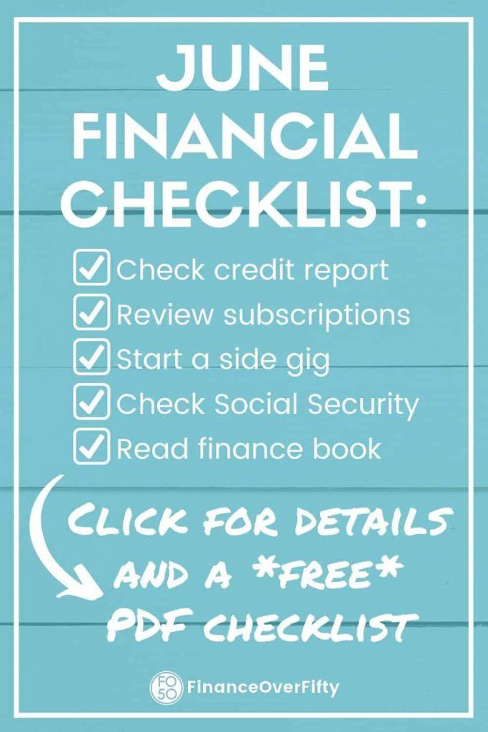 June financial checklist pin