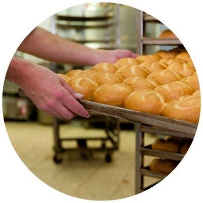 Man baking bread