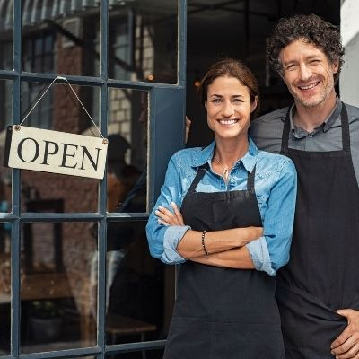 Man and woman business owners