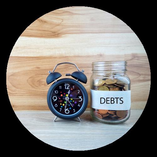 Debt jar with clock