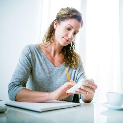 Woman on calculator