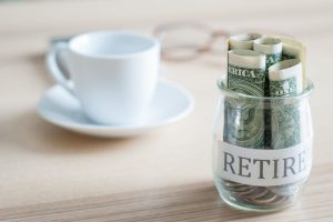 Jar with cash for those behind on retirement savings
